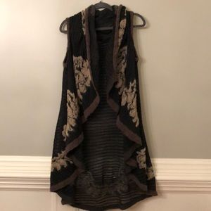 Boutique Long Vest with Embroidered Detail